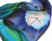 Hand painted silk scarf with dandelion theme. Blue, green, cyan.