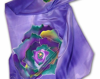 """Hand painted silk scarf with """"vegetable"""" theme. Blue, green, purple."""