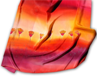 Hand painted silk scarf with hot summer flowers. Ardent red, orange, purple.