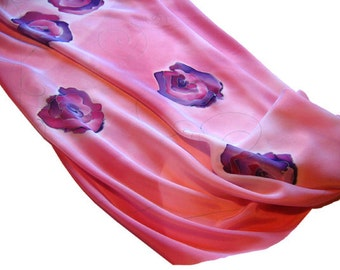 Silk scarf with roses in pink background. Hand painted. Pink, purple.