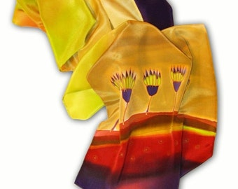 Hand painted silk scarf with Flowers from magic meadow. Gold, yellow, red, purple.