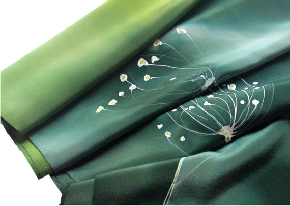 Hand painted silk scarf with flowers frozen in shades of green. Emerald, jade, light green, dark green.