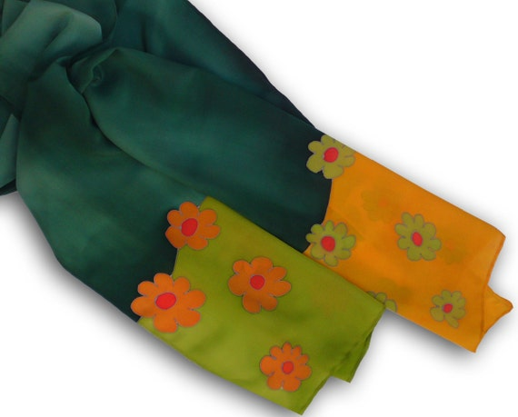 Hand painted silk scarf with flowers of autumn lake. Dark green, yellow, olive, orange.