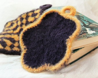 SALE - 25% OFF -- Retro Potholders - Set of 2 - Purple Gold Yellow - Felted Crochet - Flower Granny Square Hot Pad Hostess Housewarming Gif