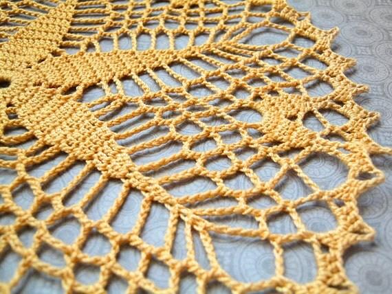"Yellow Starshine Doily - 9"", Egyptian Cotton - Star, Lace, Flower, Crochet, Housewarming Gift, Home Decor, Geometric"