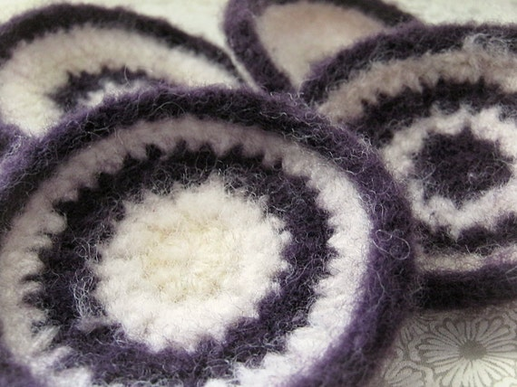 Blackberry Cheesecake Wool Coasters - set of 4 - Purple, Cream, White - felted crochet