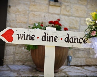 CUSTOM Wood Wedding DIRECTIONAL Signs.  Made to Order. HANDPAINTED. Wedding Reception Directional Signs. Heart Arrow.