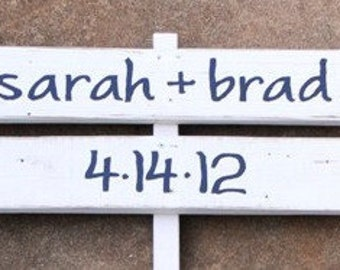 CUSTOM Wood Wedding DIRECTIONAL Signs. Made to Order. HANDPAINTED. Personalized Two Piece Sign.