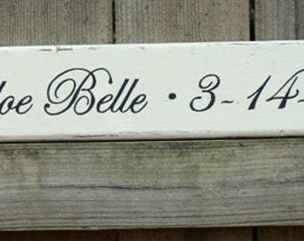 CUSTOM Wood Wedding Signs.  Made to Order. HANDPAINTED.Children, Kids Name and Birthdate. Add to Family Name Sign.