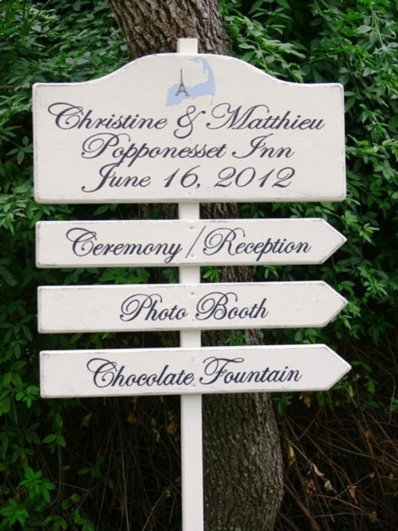 CUSTOM Wood Wedding DIRECTIONAL Signs. Made to Order. HANDPAINTED. Four Piece Sign with Wedding Logo.