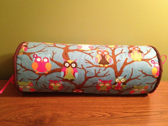 "14"" x 6"" Colorful Owl Corduroy Neck Roll Pillowcase"