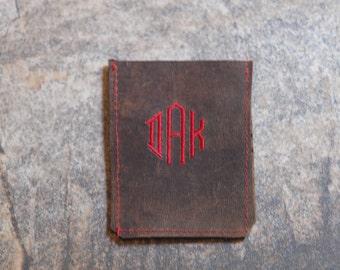 Monogrammed Leather Wallet, Credit Card Holder,