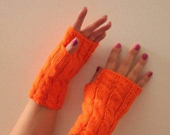 ON SALE  Wool Fingerless Gloves Armwarmers Hand Knit Chic Winter Accessories Winter Fashion
