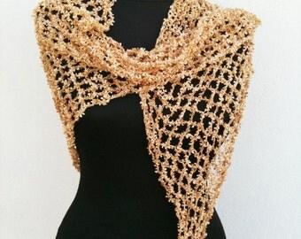 Wedding Super LUX Special gold Fancy Crochet Shawl,Scarf, Triangle Shawl,
