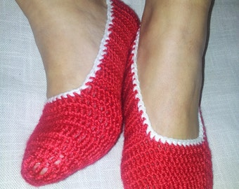 Red Healthy Booties Home slippers Dance classic yoga sexy hygienic light Naturel Silk cashmire crochet