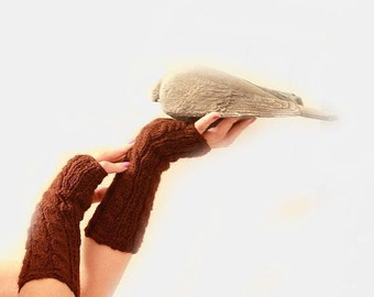 Wool Fingerless Gloves Armwarmers Hand Knit Chic Winter Accessories Winter Fashion