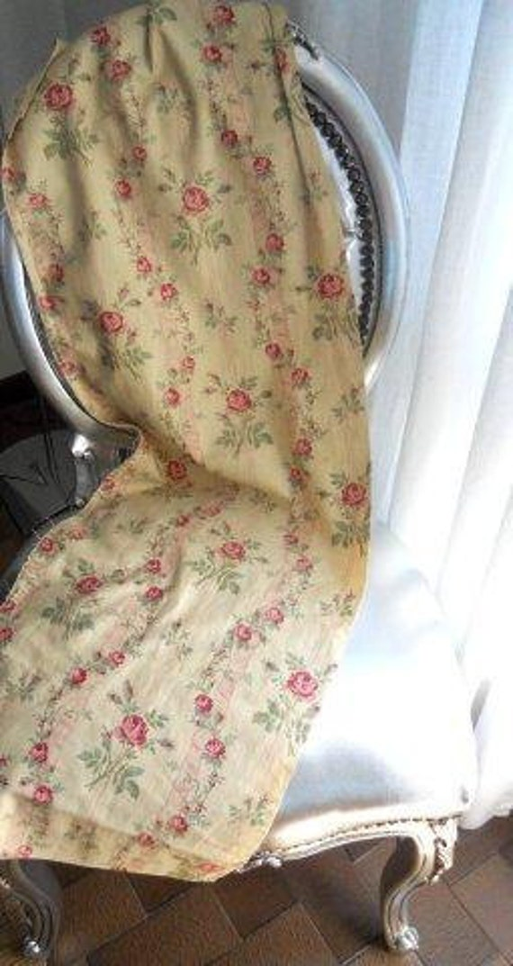Antique  French 19th-century  Cotton Floral Decor Roses  Shabby