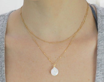 Lunalie: Moon Necklace. Single Pearl and Gold Necklace. Two Gold Filled Satellite Chains. Full moon Coin Pearl. EX.