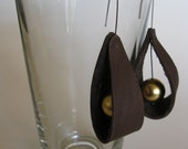 chestnut leather loop earrings with gold ball