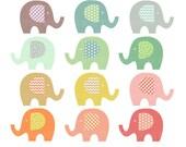 elephant clip art, baby elephant clipart, pastel washi tape pattern polka dot chevron gingham heart, cute images invitations baby shower 025