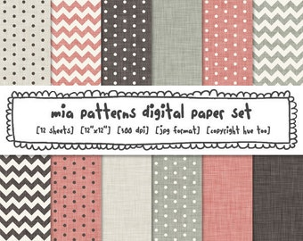 digital paper pink and gray, linen texture, chevrons, polka dots, printable photography backgrounds, instant download - 322