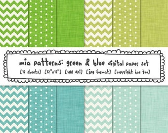 digital paper green and blue, linen texture, chevrons, polka dots, printable, photography backgrounds, instant download - 325