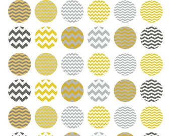 chevron collage sheet, 1 inch circles and squares, bottlecap images, gray mustard yellow, instant download 608