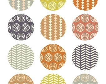 2 inch circles, tribal patterns collage sheet, printable circle images, triangles chevrons for instant download - 903