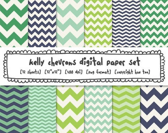 chevron digital paper, zig zag paper, chevron stripe, photography backgrounds, green and blue, instant download digital backgrounds - 341