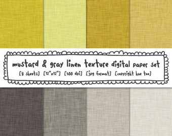 digital paper linen texture mustard yellow gray, digital photography backgrounds, personal small commercial, instant download - 349
