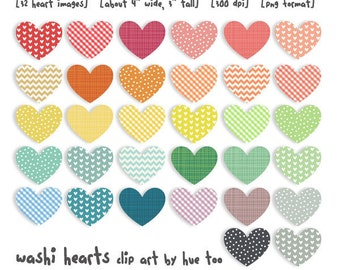 heart clip art, valentine's day hearts clipart washi tape patterns rainbow colorful, instant download digital files - 015