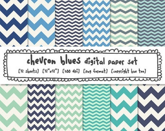 blue chevron digital paper, zig zag chevron stripe, photography backgrounds, aqua turquoise navy blue, digital files instant download - 346