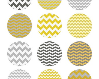 chevron collage sheet, mustard yellow and gray 2 inch circles, zig zag stripe, party printable, instant download 907