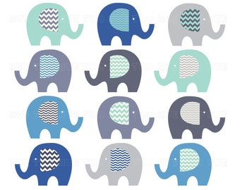 elephants clip art, chevron elephant clipart,  gray blue aqua turquoise, cute images for invitations, invites, instant download - 027