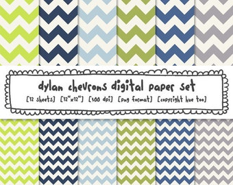 blue and green chevron digital paper, boys digital backgrounds, instant download png files - 374