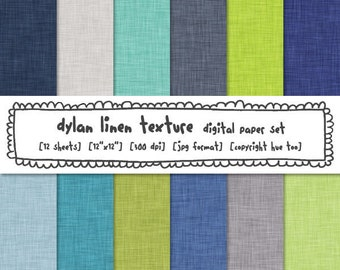 linen texture digital backgrounds, digital paper lime green navy blue aqua mint turquoise, instant download - 378