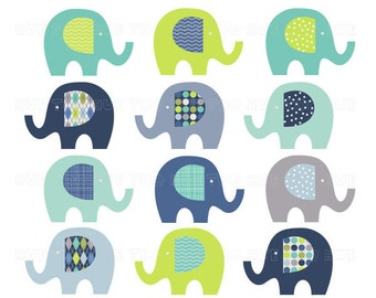 elephant clipart, clip art elephants, lime green navy baby blue turquoise aqua, images invitations invites baby shower birthday 030