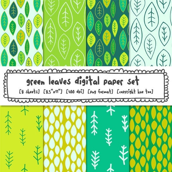 digital paper, printable leaves paper, green leaf, patterned paper, jungle theme, instant download digital background papers- 303