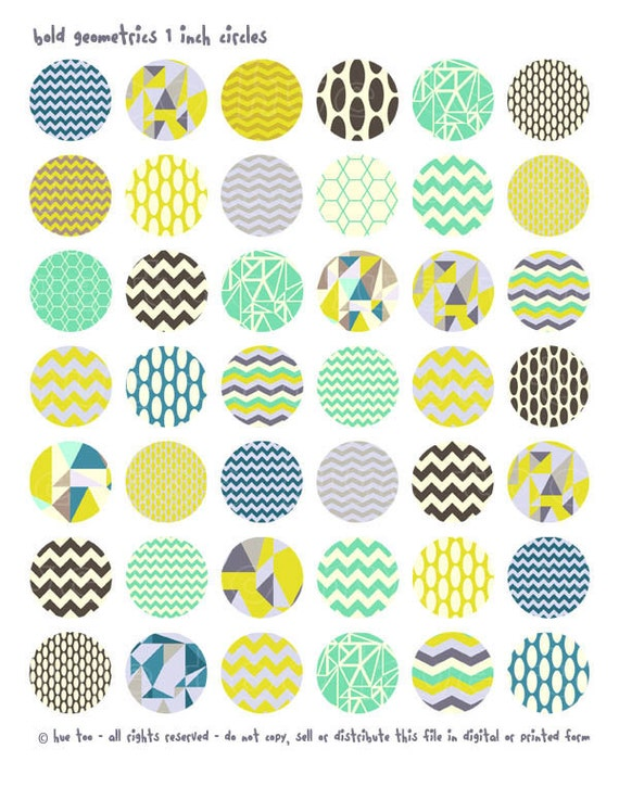 1 Inch Circles And Squares Geometric Patterns Collage Sheet