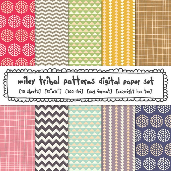 tribal patterns digital paper, digital photography backgrounds, girls colorful chevrons triangles, instant download - 359
