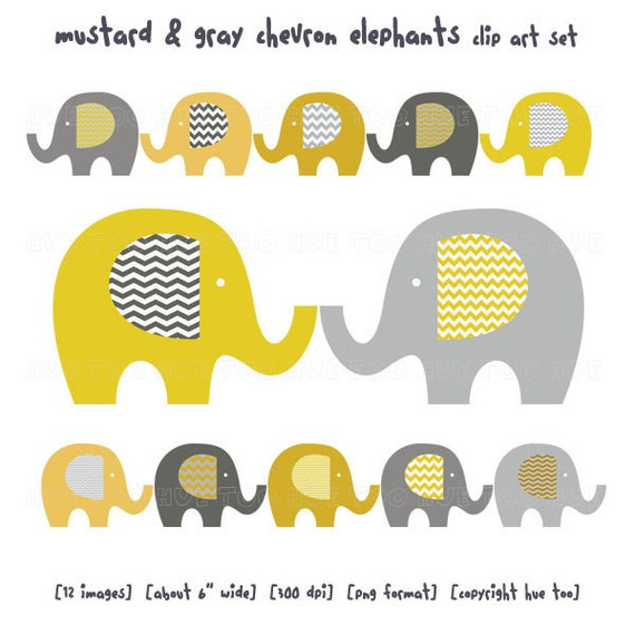 elephant clip art, baby elephant clipart, chevron mustard yellow gray zig zag stripe, images for invitations, instant download - 022