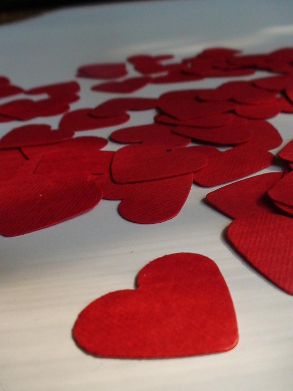 400 heart shaped cardstock punch outs in red