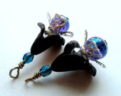 Lucite Flower Dangles: Black Lucite Flowers, Teal Czech Glass, Blue Metallic Glass and Crystals, Earring Dangles, Jewelry Supplies, Handmad