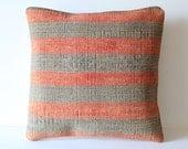 Organic Shine Society Modern Bohemian Throw Pillow. Handwoven Striped Vintage Tribal Turkish Kilim Pillow Cover. Peach, Gray, Olive. 16x16