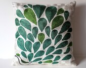 Organic Shine Society Modern Bohemian Throw Pillow. Moroccan Peacock Embroidered Suzani-Style Pillow Cover. White, Turquoise, Green. 16x16