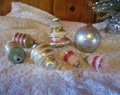 Variety of 7 Beautiful Antique Mercury Glass Christmas Tree Ornaments Shiny Brite