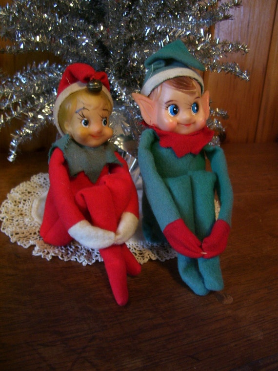 Two Antique Christmas Elves-Pixies Knee Hugers Ornaments/Decorations