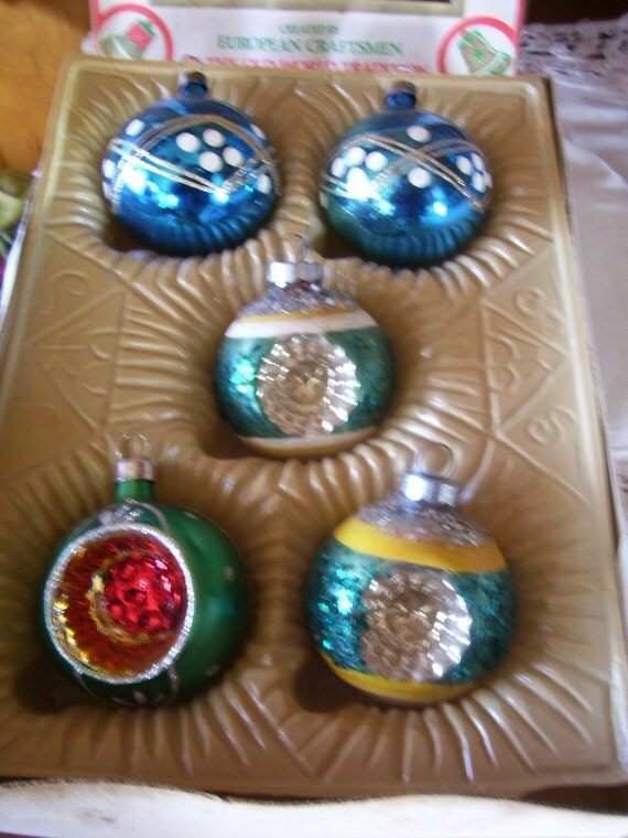 Variety of 5 Beautiful Antique 1950's Mercury Glass Christmas Tree Ornaments 3 Shiny Brite Indent