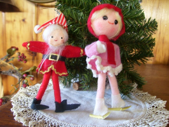 Reserved for canada Rare Antique 1940-50's Christmas Elf & Pixie Ice Skater Pose Dolls Japan