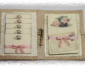Ladys romantic notepaper and envelopes in a folder with pencil OOAK Dollhouse scale 1/12 - Scarletts45